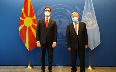Takimi i Presidentit Pendarovski me Sekretarin e Përgjithshëm të Kombeve të Bashkuara, Antonio Guteresh