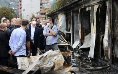 Претседателот Пендаровски во посета на опожарената модуларна болница во Тетово