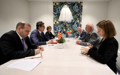 President Pendarovski meets in Malmo with the Minister of Foreign Affairs of Portugal, Augusto Santos Silva