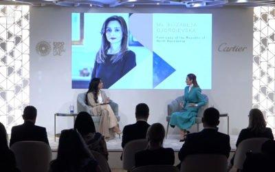 """Сопругата на претседателот, Елизабета Ѓоргиевска учествуваше на панел дискусијата """"Визии и патувања"""" во рамки на Павилјонот за жени ЕКСПО 2020 во Дубаи"""
