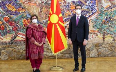 Претседателот Пендаровски ги прими акредитивните писма на новоименуваната амбасадорка на Исламската Република Пакистан, Мариам Мадиха Афтаб
