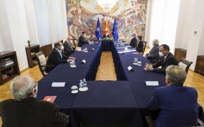 Средба на претседателот Пендаровски со членовите на заедничкиот интердисциплинарен комитет на експерти за историски, археолошки и образовни прашања со Република Грција